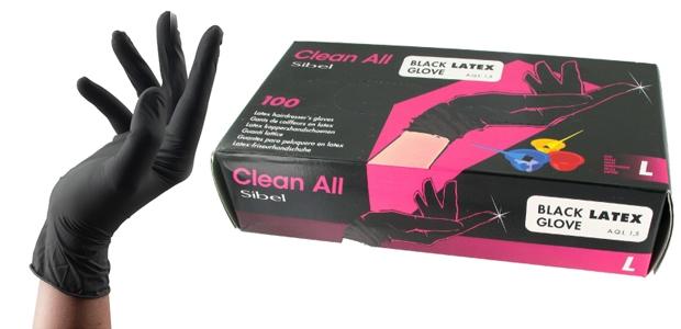 Black Latex handschoenen -large