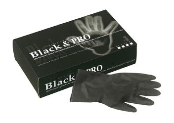 Black latex satin handschoenen - medium