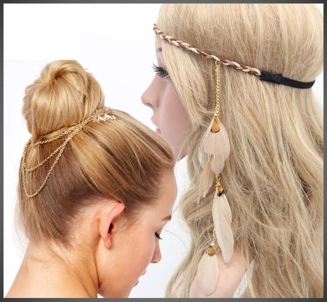 Feather Haarband & haarkettinkje